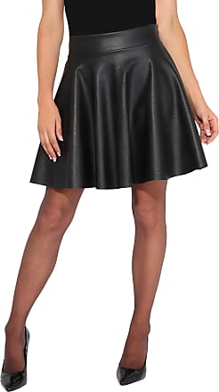 Krisp Faux Leather Skater Skirt, Black, 18, 3082-BLK-18