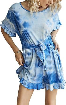 QIYUN.Z Womens Sexy Off Shoulder Short Sleeve Drawstring Waist Jumpsuit Romper Blue XL