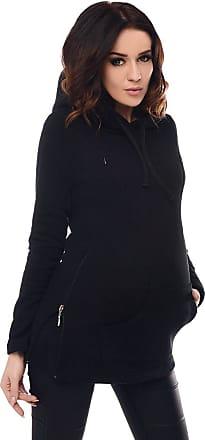 Purpless Maternity 2in1 Pregnancy Nursing Hoodie Sweatshirt Woman Kangaroo 9050 (14, Black)