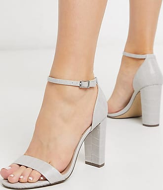 New Look patent leather look block heeled sandals in grey