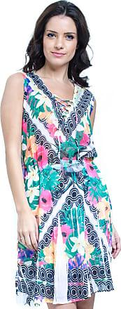 101 Resort Wear Vestido Evasê Curto 101 Resort Wear Estampado Floral Verde