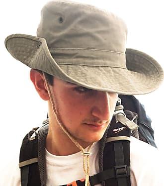 TOSKATOK UPF 50+ Unisex Safari Outback Australian Style Cotton Bush Hat with Wide Brim, Chin Strap, Side Press Studs and Air Vents-Stone