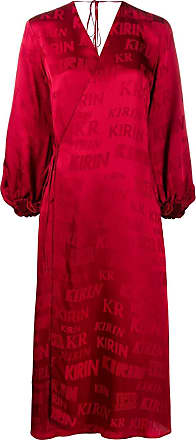 Kirin logo-print satin wrap dress - Red