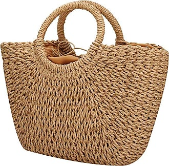 YYW Straw Bags, Womens Straw Handbags Large Hobo Bag Summer Beach Tote Woven Handle Shoulder Bag (Brown)