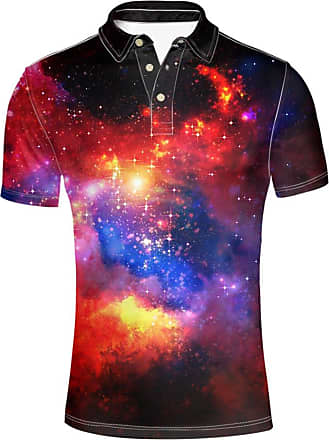 Hugs Idea Fashion Menns Jersey Sport T-Shirt Galaxy Printed Tees Slim Fit Summer Comfort Shirt Short Sleeve