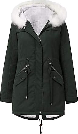 VITryst Womens Drawstring Fur Hooded Zipper Long Coat Casual Warm Outwear Jackets Overcoats Tops,Green,X-Large