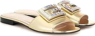 Gucci Metallic leather slides