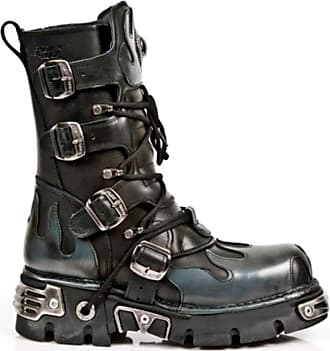 New Rock Newrock 591-S2 Silver Flame Metal Black Leather Heavy Punk Gothic Boots with Laces 10