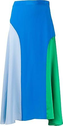 Chinti and Parker Vestido de seda color block - Azul