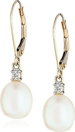 Amazon Collection 10k Yellow Gold Freshwater Cultured Pearl with Diamond Accent Drop Earrings (8-8.5 mm)