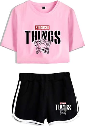 OLIPHEE Girls Stranger Things New Season Character Printed Tracksuits Casual Summer Crop Tops and Shorts T-Shirt Suits Things Flower Pink Black XS