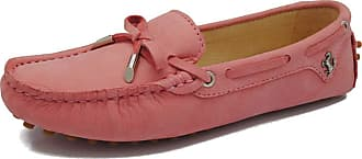 MGM-Joymod Womens Fashion Comfortable Leather Bowknot Driving Outdoor Walking Leisure Breathable Loafers Flats Boat Shoes 5.5 M UK Pink