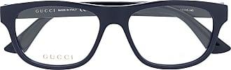 Gucci Armação de óculos retangular com placa de logo - Azul