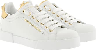 Dolce & Gabbana Sneakers - Portofino Pearl Sneakers Leather White/Gold - white - Sneakers for ladies