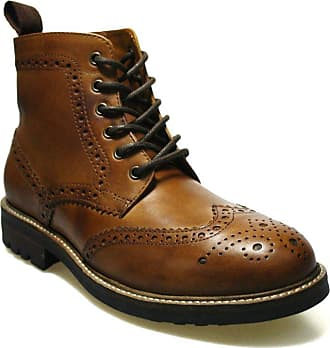 Redtape Devlin Brown Leather Mens Brogue Boots, Size UK 9