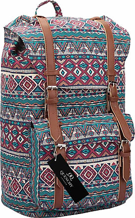 Quenchy London Backpack Casual Daypack for Girls and Women, Medium Canvas School Size A4 Bag 45cm x30x9 25 Litre QL916 (Red Inca)