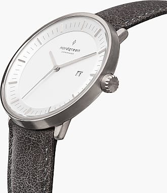 Nordgreen Philosopher - Silver | Patina Grey Leather - 40mm / Silver