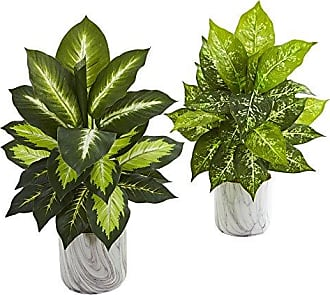 Nearly Natural 8190-S2 Dieffenbachia Artificial Marble Finish Planter (Set of 2) Silk Plants Green