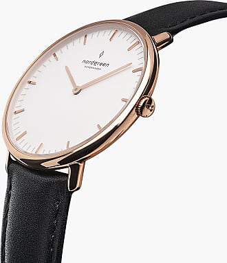 Nordgreen Native - Rose Gold | Black Leather - 36mm / Rose Gold
