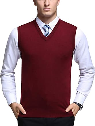 Yonglan Mens Plain Knitted Vest Jumper V-Neck Sleeveless Slipover Knitwear Sweater Tank Tops Red L