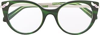 Bvlgari Armação de óculos gatinho com aplicação - Verde