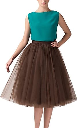 Clearbridal Womens 50s Vintage Tulle Petticoat Tutu Skirt Bridal Petticoat Underskirt for Prom Evening Wedding Party 12021 Brown