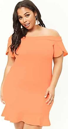 Forever 21 Plus Forever 21 Plus Size Flounce Off-the-Shoulder Dress Peach