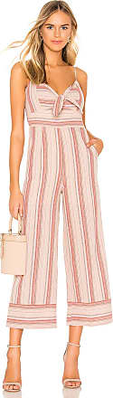 J.O.A. Striped Linen Tie Front Jumpsuit in Pink