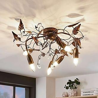 Lampenwelt.com Lámpara de techo Marlitt, brazos curvos, 6 luces
