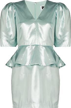 Rotate Vestido peplum Mindy metálico - Azul