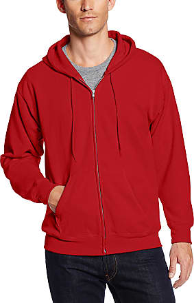 Hanes mensFull-zip Eco-smart Fleece Hoodie Long Sleeve Hoody - Red - Medium