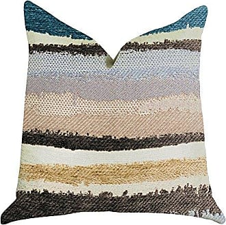Plutus Brands Blue Stone River Sand Double Sided Standard Luxury Throw Pillow 20 x 26 Brown Beige