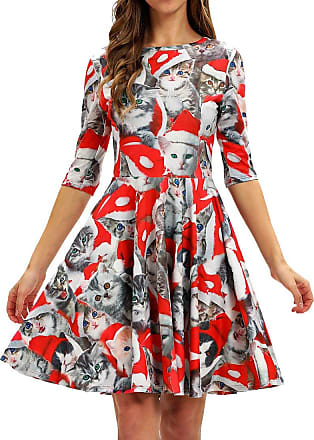 EmilyLe Womens 3D Christmas Dress Vintage Xmas Evening Party Costume Casual Swing Dress (XL, 1 Red Cats)