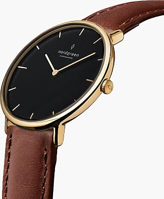 Nordgreen Native | Black Dial - Brown Leather - 40mm / Rose Gold