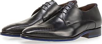 Floris Van Bommel Schwarzer Leder-Schnürschuh mit Laserprint, Business Schuhe, Handgefertigt