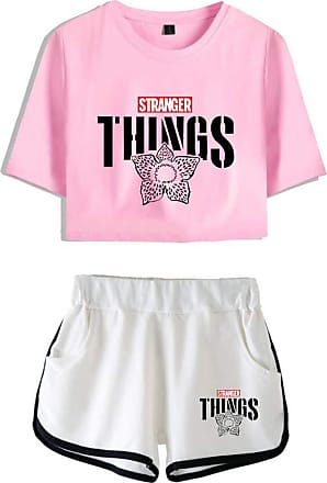 OLIPHEE Girls Stranger Things New Season Character Printed Tracksuits Casual Summer Crop Tops and Shorts T-Shirt Suits Things Flower Pink White2 XS