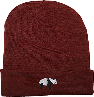 HippoWarehouse Panda Bear Embroidered Beanie Hat Maroon