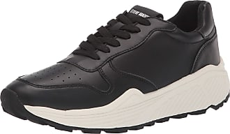 Steve Madden Mens Sardan Sneaker, Black Leather, 9.5 UK