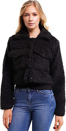 Noroze Women Cropped Borg Trucker Jacket (8, Black)