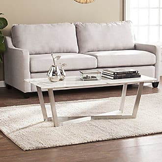 Southern Enterprises Wrexham Faux Marble Cocktail Table - Soft Ivory & Gray Finish - X Frame Nickel Base