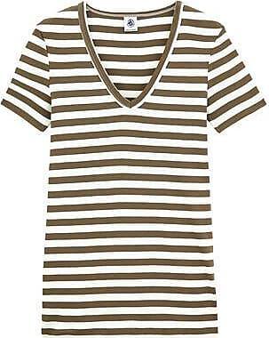 Petit Bateau T-shirt femme col V en côte originale rayée