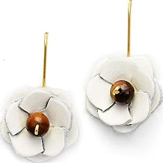 Tinna Jewelry Brinco Dourado Flor Couro (Couro Branco e olho de tigre)