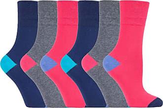 SockShop 6 pairs Ladies SockShop Cotton Gentle Grip UK 4-8, EUR 37-42 Socks - NEW variations (6 x RH187 C/B Prism)