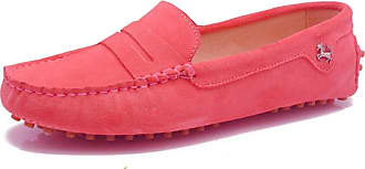 MGM-Joymod Ladies Womens Fashion Comfy Casual Slip-on Rose Suede Leather Walking Driving Loafers Flats Moccasins Hiking Shoes 6.5 M UK