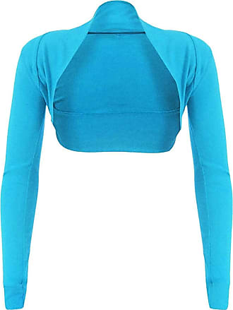 Top Fashion18 Top Fashion Womens Long Sleeve Ladies Short Cropped Open Shrug Bolero Cardigan Top UK Size 8-26 Turquoise
