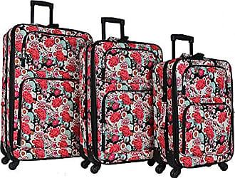 World Traveler 3-Piece Rolling Expandable Spinner-Flowers
