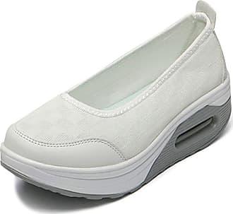 OCHENTA Womens Slip on Shoes Walking Fitness Toning Wedge Trainers White Tag 37-UK 4.5