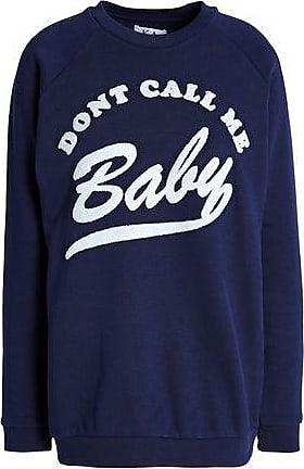 Zoe Karssen Zoe Karssen Woman Flocked French Cotton-blend Terry Sweatshirt Navy Size XS
