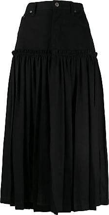 Yohji Yamamoto pleated panel denim skirt - Black
