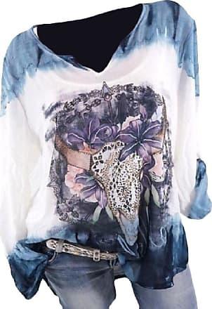Abetteric blusa feminina solta com estampa estilosa e manga comprida e decote em V, Azul, US 2XL=China 3XL